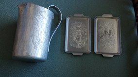 Aluminum pitcher and serve dishes in 29 Palms, California