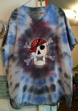 Men Clothing BRAND NEW Spiral V-Neck Design with Skull on it Tie Dye Tee Shirt in Cary, North Carolina