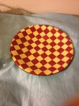 """Decorative Plate Red Yellow Fat Chef 14"""" Plaid Checked Kitchen Bake Cook Dinner Breakfast in Kingwood, Texas"""
