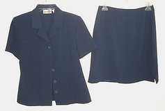 Paul Harris design navy skirt suit top jacket + skirt womens size small 4 in Joliet, Illinois