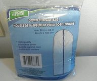 """Brand New ~ the home store GOWN storage bag plastic zippered garment bag 26"""" x 63"""" new! in Morris, Illinois"""
