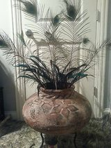 large clay-pottery vase large flower pot pedestal ceramic planter...pick up only in Schaumburg, Illinois