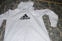 large white adidas hoodie with waist line strings. slightly worn before dc 10 in Fort Carson, Colorado