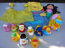 lot of rubber ducks bath toy+cover faucet+toy hold in Wilmington, North Carolina