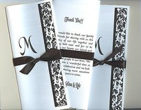 Damask Trifold Wedding Program (other designs are available) in Naperville, Illinois