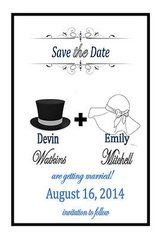 48 save the date cards hat design his & hers in Naperville, Illinois