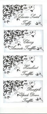 20 candy buffet menu item cards - floral flourish seasonal your theme and more in Naperville, Illinois