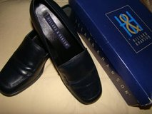 Ladies slip on navy blue leather shoes (new) in Temecula, California