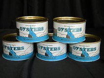 set of 5 vintage oysters seafood cans (blanks) b.f. mills sneads ferry n.c. in Camp Lejeune, North Carolina