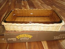 Vintage Pyrex fireside naturals 2 quart utility dish and natural rattan basket in Chicago, Illinois
