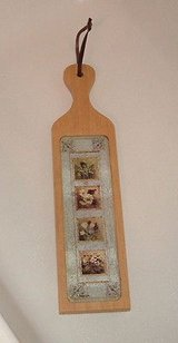 Wooden paddle bread cheese cutting board country floral with glass insert in Morris, Illinois