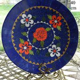 lapis lazuli handmade dark blue large plates floral desgin pattern 40cm diameter in Los Angeles, California