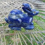 lapis lazuli large gem stone rabbit animal carving figurine dark blue in Los Angeles, California