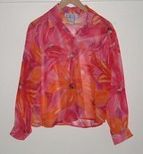 BFA Classics sheer floral blouse womens sz xsp x-small petite button front xs p in Morris, Illinois