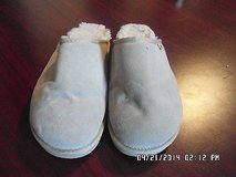Beach Feet 11 Women's Shoes Taupe Cow Suede Leather Slide House Slippers Wool Fur in Huntington Beach, California