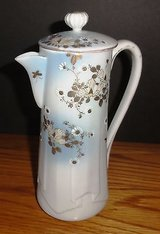 Hand Painted Japan Chocolate Pot with lid light blue/gold flowers in Chicago, Illinois