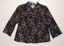 Christopher & Banks brown blue floral jacket 3/4 sleeve womens small s in Morris, Illinois