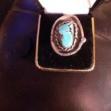 nice vintage sterling silver turquoise ring woman in 29 Palms, California