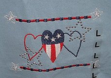 Brand New with Tags  M&C Energy sportswear stitched stud americana hearts tee top large t-shirt in Joliet, Illinois