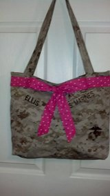 USMC MARPAT Desert Tote Bag with Bow, Handcrafted in Cherry Point, North Carolina
