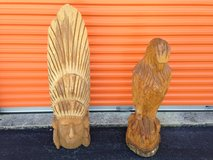 Solid Hand Carved EAGLE & INDIAN in Cherry Point, North Carolina