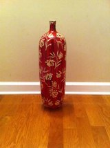 Red tall ceramic vase in Fort Campbell, Kentucky
