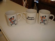 "Rare Set of ""3"" USINGER'S SAUSAGE ""Brats Bomber"" Baseball Coffee Mugs in Brookfield, Wisconsin"