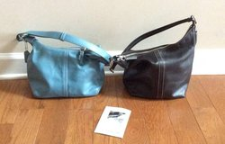 Obo Coach leather purses black or light blue in Fort Campbell, Kentucky