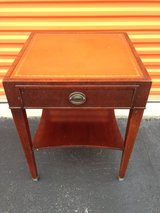 Mahogany Leather Top Accent Table in Cherry Point, North Carolina