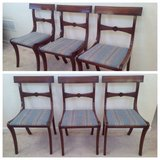 3 Vintage Mahogany Bar Back Blue Upholstered chairs with bow midrails in Chicago, Illinois
