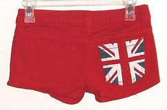 delia*s britt red mini short shorts english flag pocket womens sz 0 w 27 in Morris, Illinois