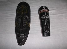 Bundle of 2 - African Hand Carved Wood Tribal Face Mask Wall Hanging 8235 in Huntington Beach, California