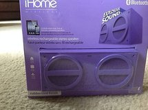 new ihome bluetooth wireless rechargeable stereo speaker, purple ibt24uc in Camp Lejeune, North Carolina