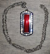 programmable scrolling red led rhinestone dog tag message display name badge tag in Yucca Valley, California