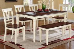 COTTAGE STYLE 5PC DINING SET W BENCH FREE DELIVERY in Huntington Beach, California