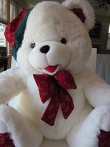 Large White Stuffed Christmas Bear in Schaumburg, Illinois