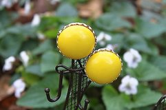 vintage clip earrings - classic yellow retro button in Houston, Texas