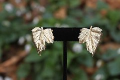vintage clip earrings - curved goldtone leaves - marked in Houston, Texas