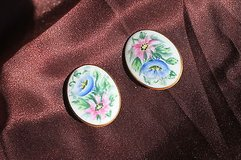 vintage clip earrings - handpainted flowers in pink & blue in Kingwood, Texas