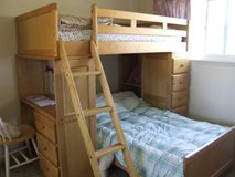 Solid wood Bunk bed with built in desk and drawers in Vista, California