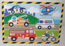 Wooden Peg Puzzle Vehicles, Police Car, Copter, Motorcycle, Fire Engine, Tow Truck, Ambu... in Joliet, Illinois