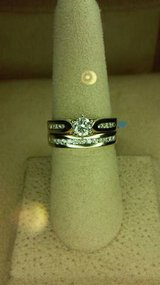 Solid gold and diamond solitaire wedding engagement ring set in Camp Pendleton, California