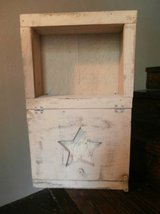Vintage tan country rustic solid wood shelf w/door in Cleveland, Texas