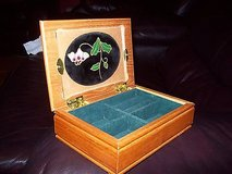 "tiny wood jewelry box ~ stained glass design w/ flower design 6 1/4"" x 4.5"" x 2"" in Orland Park, Illinois"