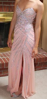 Beautiful Sean Collection Beaded Peach Gown, Front Slit, Cut Out Back, Size 2 in Aurora, Illinois