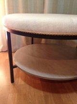 Ottoman/Coffee Table with Tufted top and weathered bottom shelf in Naperville, Illinois