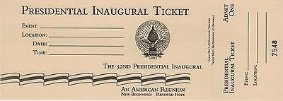 1993 presidential inaugural ticket (no specific location printed) in Fort Belvoir, Virginia
