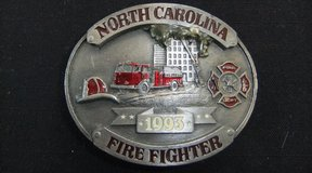 Vintage North Carolina Series Fire Fighter Custom Belt Buckle USA in Cherry Point, North Carolina