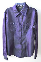 roccobarocco jeans size 8 purple  logo long sleeve blouse shirt italy in Wheaton, Illinois