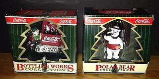 """Coca Cola Ornament Bottling Works Collection """"Elves with Sled"""" and """"Celebrating New Year's Eve"""" in Chicago, Illinois"""